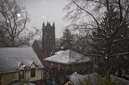 Snow falls on the First Reformed Church of Nyack. Photo Credit: ©2012 Ali Perretz