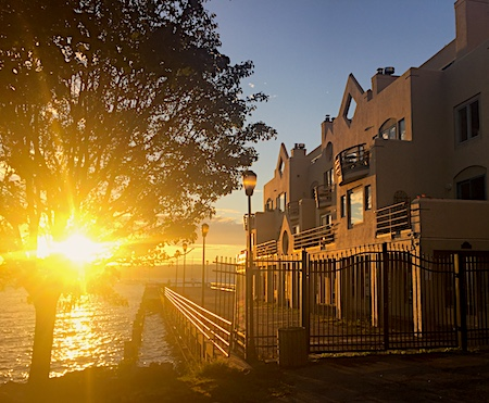 Hudson River Sunrise, Clermont, Main St, Nyack, Lens flare. Photo Credit: Dave Zornow