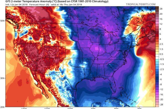 winter temperature dipole